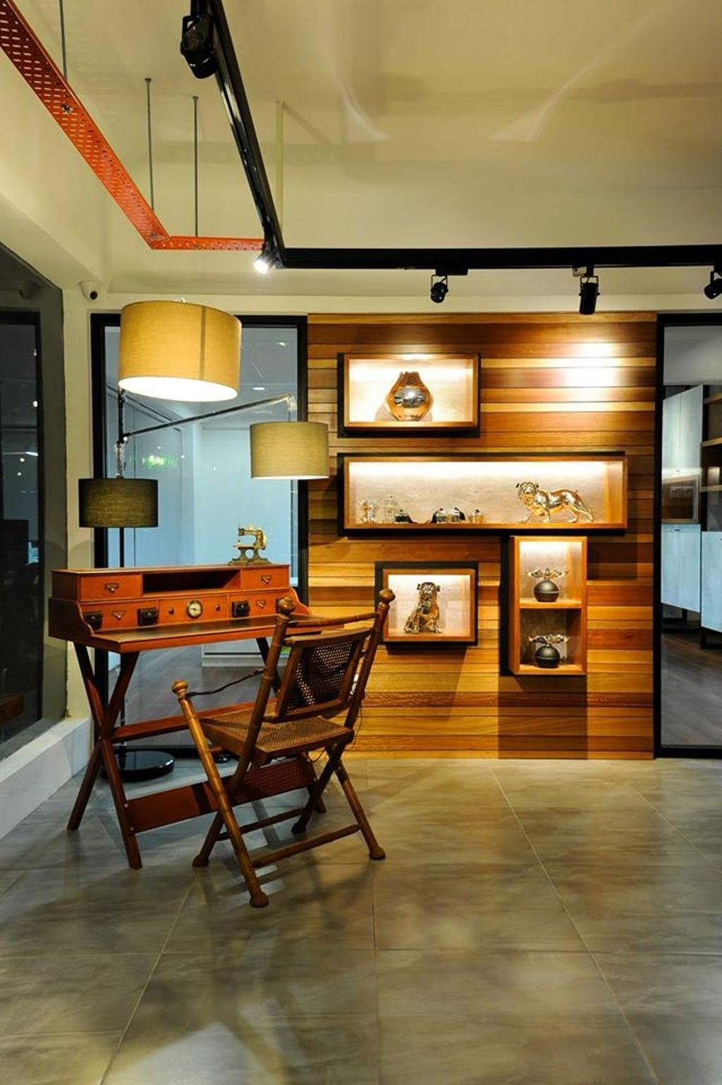 Showroom, Commercial, Interior Designer, M innovative Builders, Hardwood, Stained Wood, Wood, Lighting, Lamp, Lampshade, Furniture, Table
