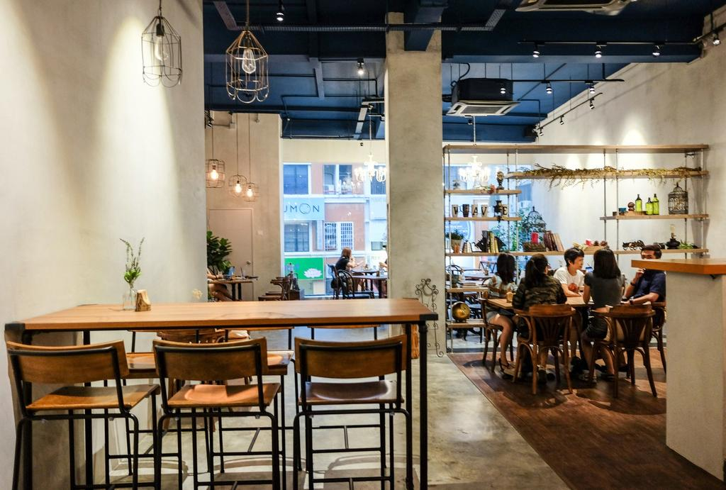 Wave Cafe, Commercial, Interior Designer, M innovative Builders, Industrial, Minimalistic, Chair, Furniture, Dining Table, Table, Cafe, Restaurant, Lighting