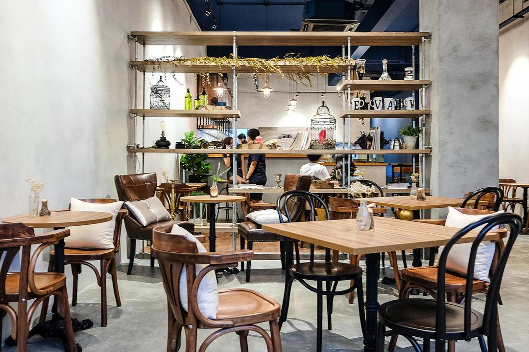 Wave Cafe, M innovative Builders, Industrial, Minimalistic, Commercial, Dining Table, Furniture, Table, Chair, Cafe, Restaurant