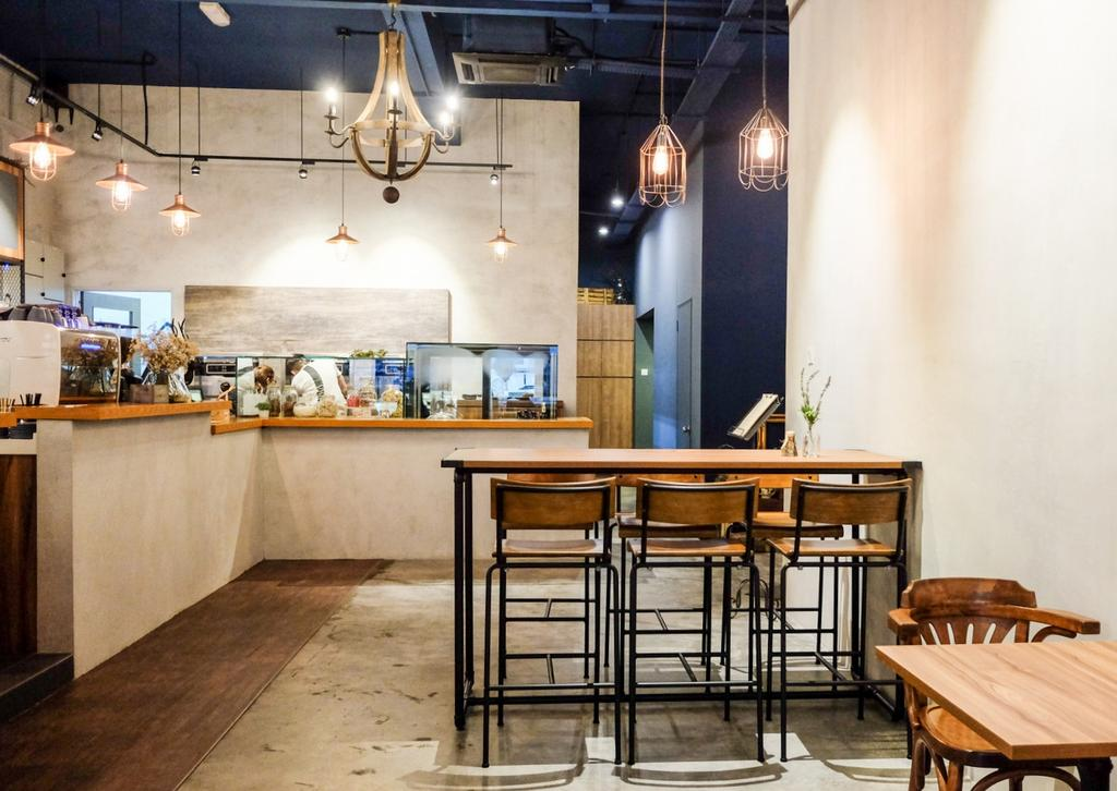 Wave Cafe, Commercial, Interior Designer, M innovative Builders, Industrial, Minimalistic, Chair, Furniture, Light Fixture, Lighting, Dining Table, Table, Dining Room, Indoors, Interior Design, Room
