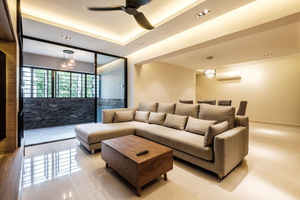 Modern, HDB, Living Room, Sengkang East Way (Block 122B), Interior Designer, DB Studio, Contemporary, Furniture, Couch, Indoors, Interior Design, Lighting