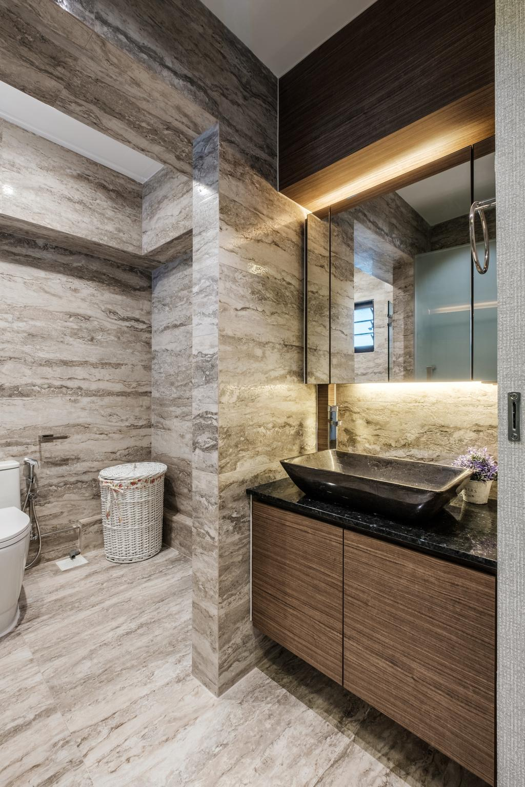 Modern, HDB, Bathroom, Sengkang East Way (Block 122B), Interior Designer, DB Studio, Contemporary, Flora, Jar, Plant, Potted Plant, Pottery, Vase