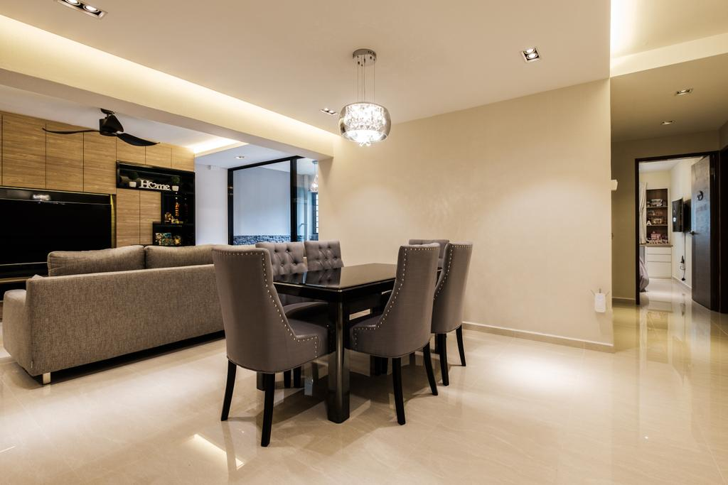 Modern, HDB, Dining Room, Sengkang East Way (Block 122B), Interior Designer, DB Studio, Contemporary, Chair, Furniture, Indoors, Interior Design, Room, Electronics, Entertainment Center, Home Theater