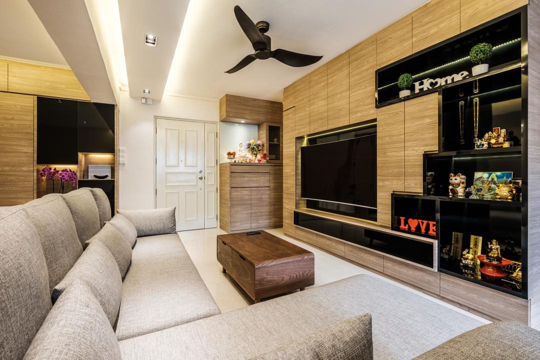 Sengkang East Way (Block 122B), DB Studio, Modern, Contemporary, Living Room, HDB, Couch, Furniture, Shop, Window Display, Indoors, Interior Design