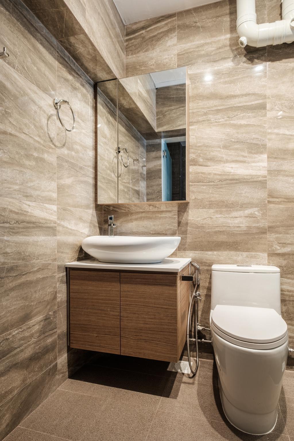 Modern, HDB, Bathroom, Sengkang East Way (Block 122B), Interior Designer, DB Studio, Contemporary, Toilet, Sink, Indoors, Interior Design, Room
