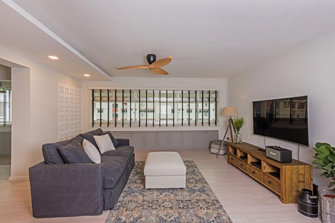 Choa Chu Kang (Block 515), DB Studio, Minimalistic, Living Room, HDB, Couch, Furniture, Carpet, Home Decor