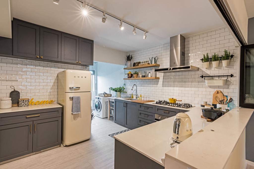 Minimalistic, HDB, Kitchen, Choa Chu Kang (Block 515), Interior Designer, DB Studio, Appliance, Electrical Device, Toaster, Indoors, Interior Design, Room