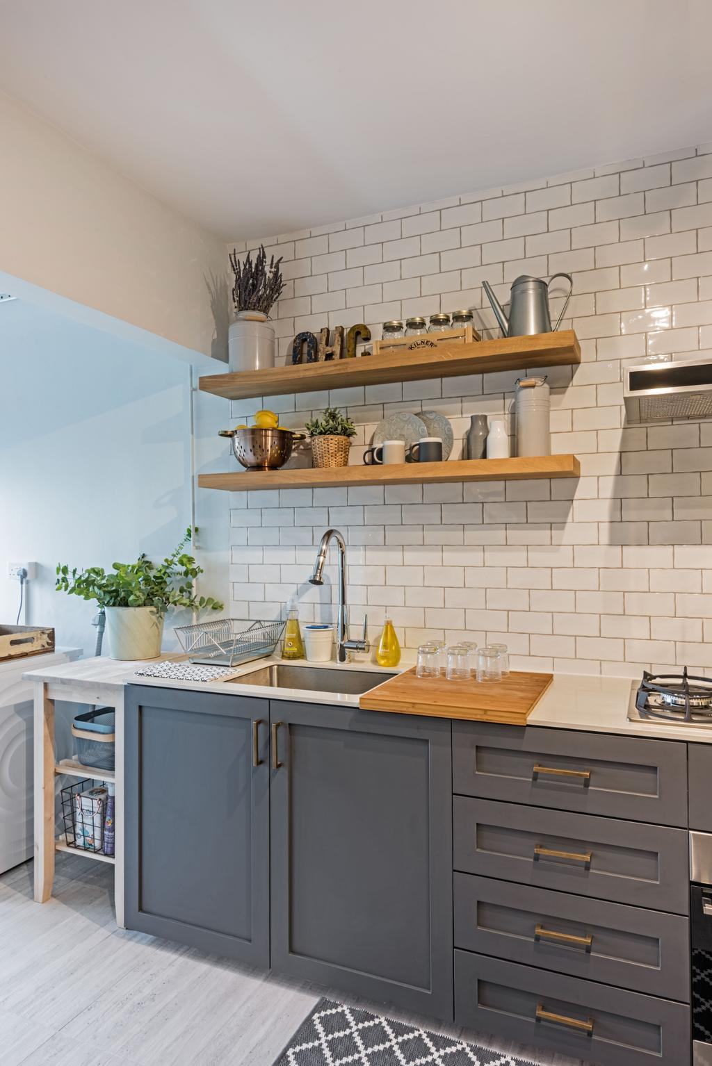 Minimalistic, HDB, Kitchen, Choa Chu Kang (Block 515), Interior Designer, DB Studio, Flora, Jar, Plant, Potted Plant, Pottery, Vase, Planter, Indoors, Interior Design, Room
