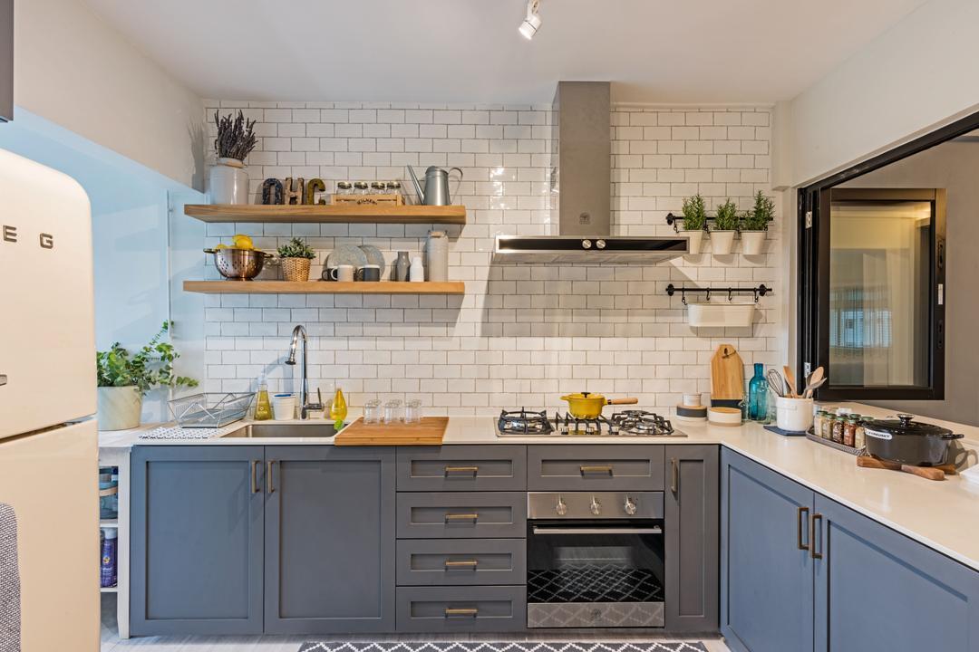 Choa Chu Kang (Block 515), DB Studio, Minimalist, Kitchen, HDB, Indoors, Interior Design, Room, Sink, Flora, Jar, Plant, Potted Plant, Pottery, Vase, Cooker