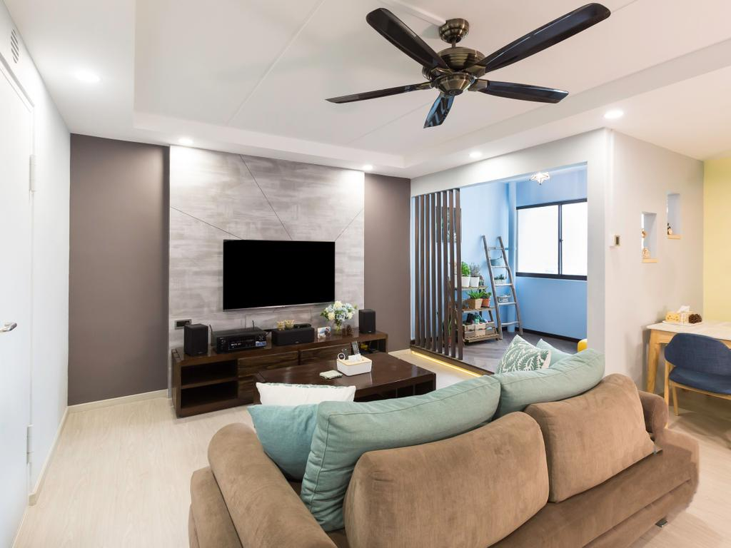 Modern, HDB, Living Room, Jurong West (Block 664B), Interior Designer, DB Studio, Contemporary, Couch, Furniture, Electronics, Entertainment Center, Home Theater, Building, Housing, Indoors, Room