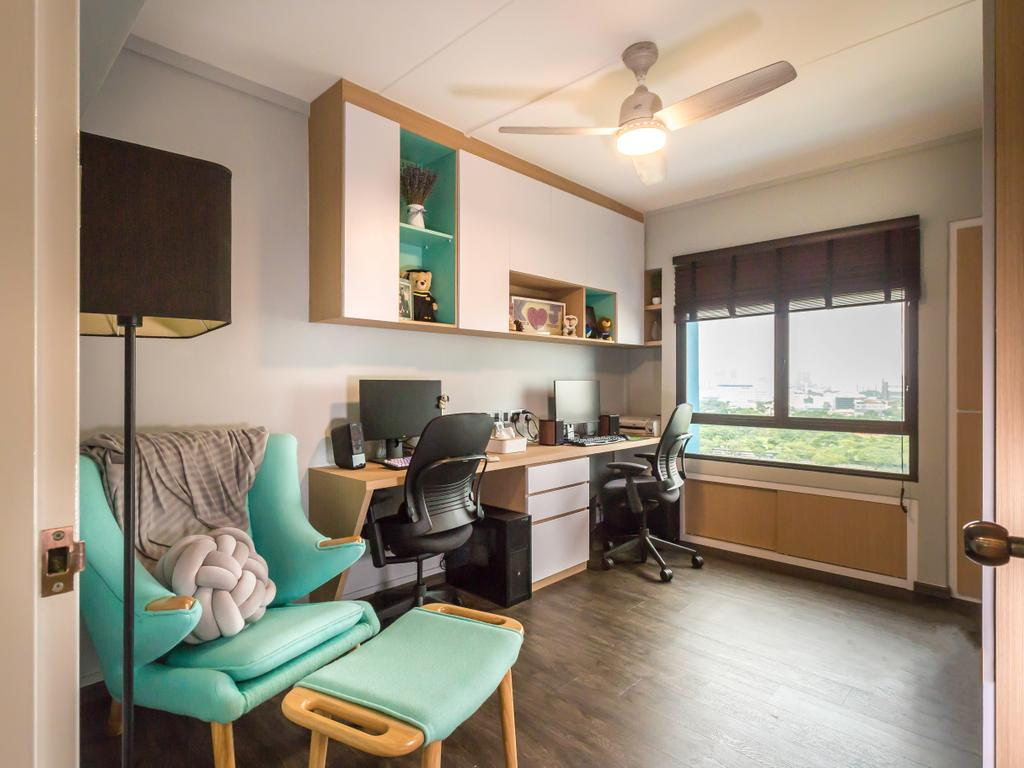 Modern, HDB, Study, Jurong West (Block 664B), Interior Designer, DB Studio, Contemporary, Couch, Furniture, Chair, Lamp, Table Lamp, Indoors, Room