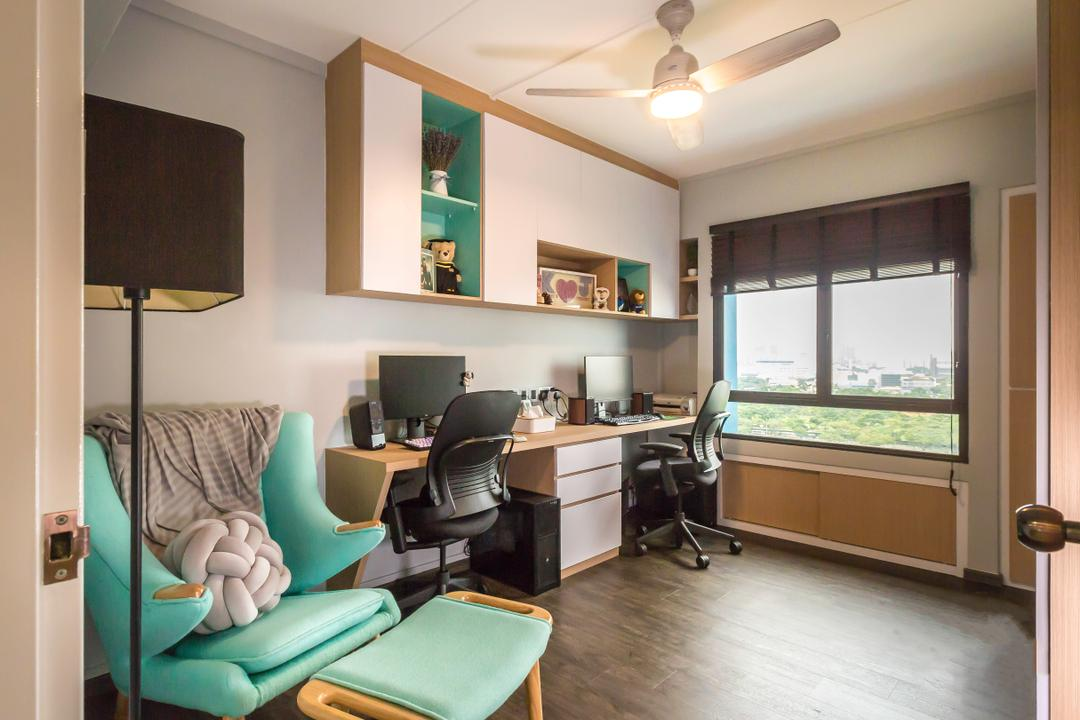 Jurong West (Block 664B), DB Studio, Modern, Contemporary, Study, HDB, Couch, Furniture, Chair, Lamp, Table Lamp, Indoors, Room