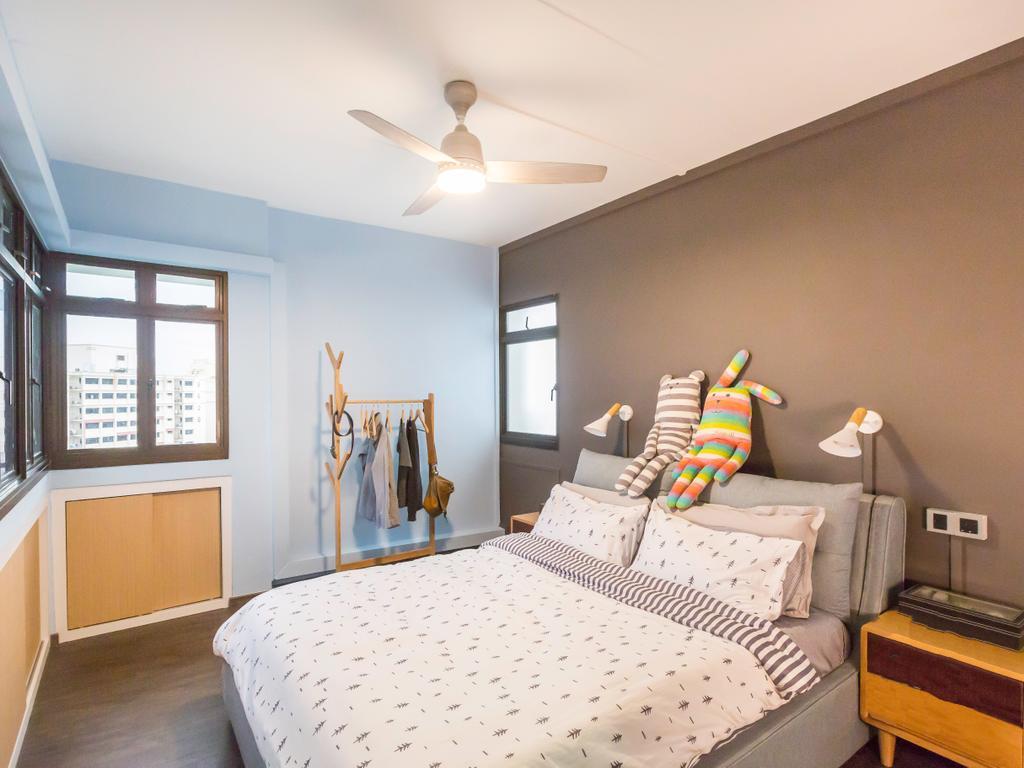 Modern, HDB, Bedroom, Jurong West (Block 664B), Interior Designer, DB Studio, Contemporary, Light Fixture, Coat Rack, Couch, Furniture, Bed, Indoors, Interior Design, Room
