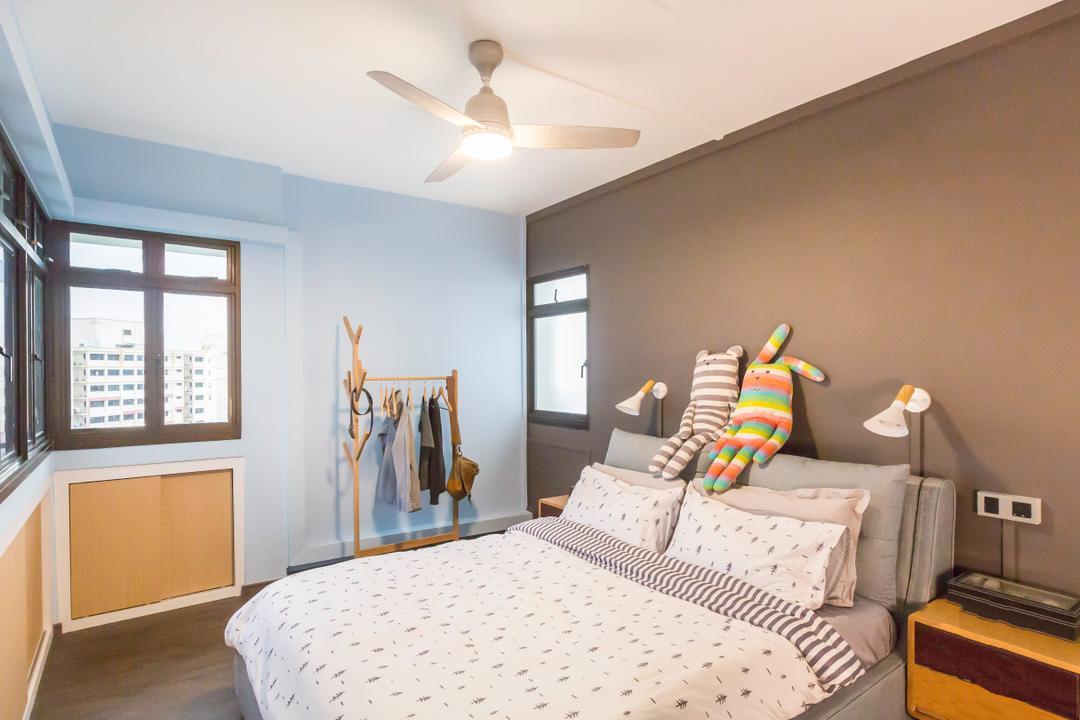 Jurong West (Block 664B), DB Studio, Modern, Contemporary, Bedroom, HDB, Light Fixture, Coat Rack, Couch, Furniture, Bed, Indoors, Interior Design, Room