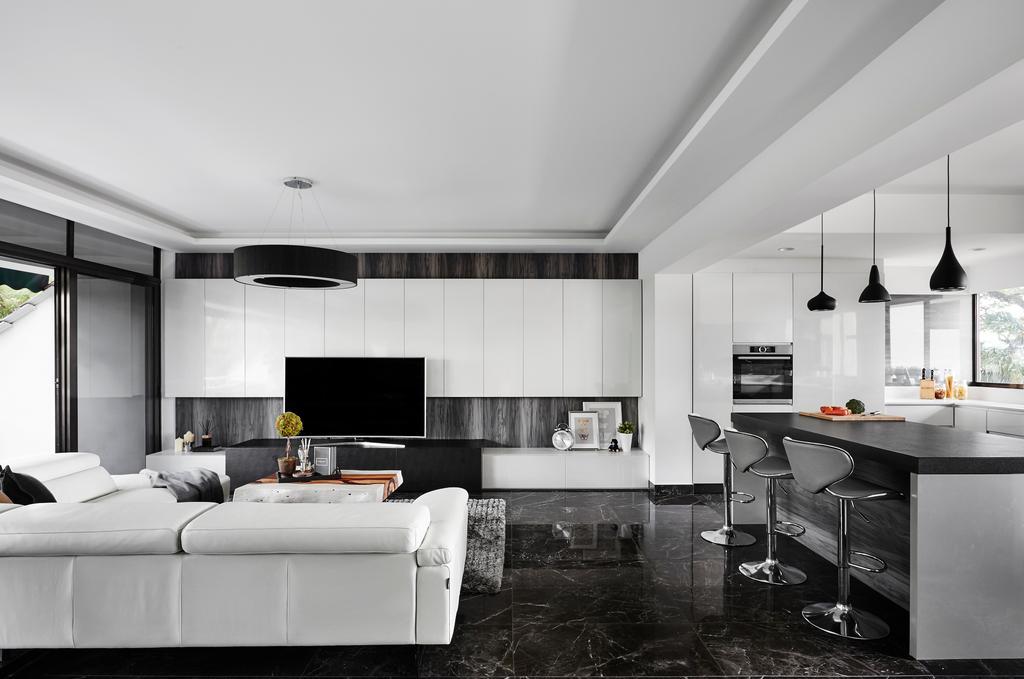 Modern, Landed, Living Room, Hillcrest Arcadia, Interior Designer, akiHAUS, HDB, Building, Housing, Indoors, Loft