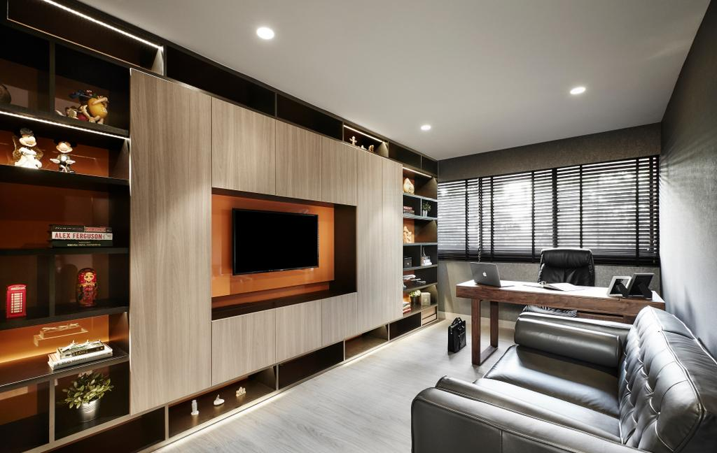 Modern, Landed, Bedroom, Hillcrest Arcadia, Interior Designer, akiHAUS, Entertainment Room, Movie, Nook, Spare Room, Chair, Furniture, Indoors, Room, Appliance, Electrical Device, Oven, Couch, Electronics, Entertainment Center