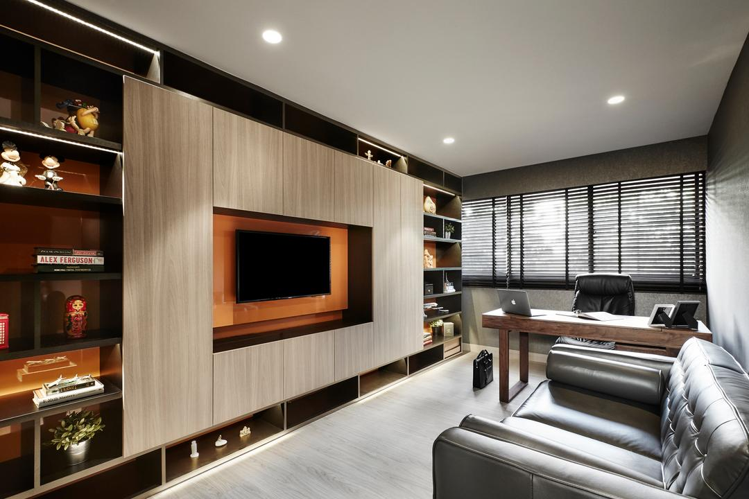 Hillcrest Arcadia, akiHAUS, Modern, Bedroom, Landed, Entertainment Room, Movie, Nook, Spare Room, Chair, Furniture, Indoors, Room, Appliance, Electrical Device, Oven, Couch, Electronics, Entertainment Center