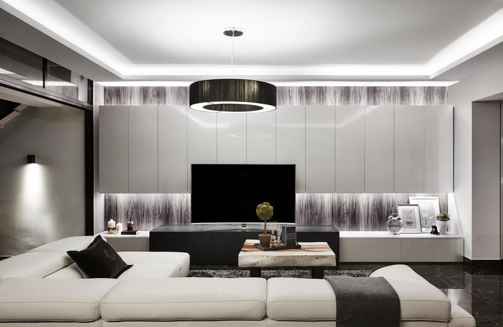 Modern, Landed, Living Room, Hillcrest Arcadia, Interior Designer, akiHAUS, Indoors, Room, Bathroom, Interior Design, HDB, Building, Housing, Loft