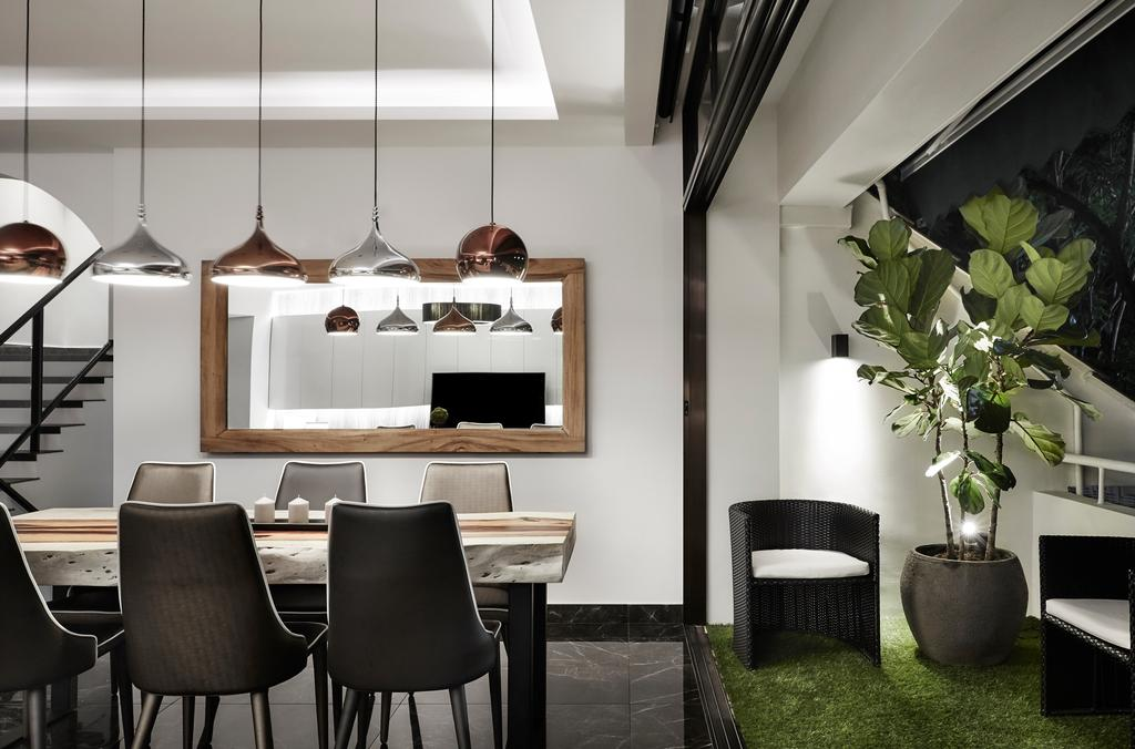 Modern, Landed, Dining Room, Hillcrest Arcadia, Interior Designer, akiHAUS, Chair, Furniture, Flora, Jar, Plant, Potted Plant, Pottery, Vase, Fireplace, Hearth, Indoors, Interior Design, Room, HDB, Building, Housing, Loft, Electronics, Entertainment Center, Dining Table, Table