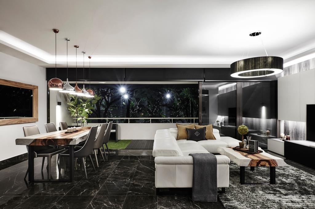 Modern, Landed, Living Room, Hillcrest Arcadia, Interior Designer, akiHAUS, Dining Table, Furniture, Table, Couch, Indoors, Room, Chair