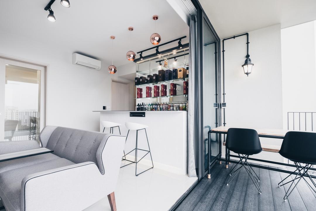 The Amore, Lemonfridge Studio, Minimalistic, Scandinavian, Balcony, Condo, Chair, Furniture, Cushion, Headrest, Home Decor, Dining Table, Table, HDB, Building, Housing, Indoors