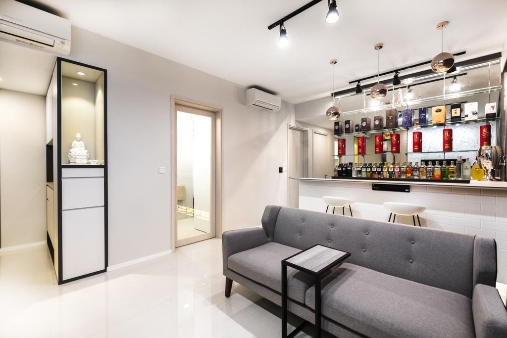 Minimalistic, Condo, Living Room, The Amore, Interior Designer, Lemonfridge Studio, Scandinavian, Couch, Furniture, HDB, Building, Housing, Indoors, Loft, Molding, Closet, Wardrobe