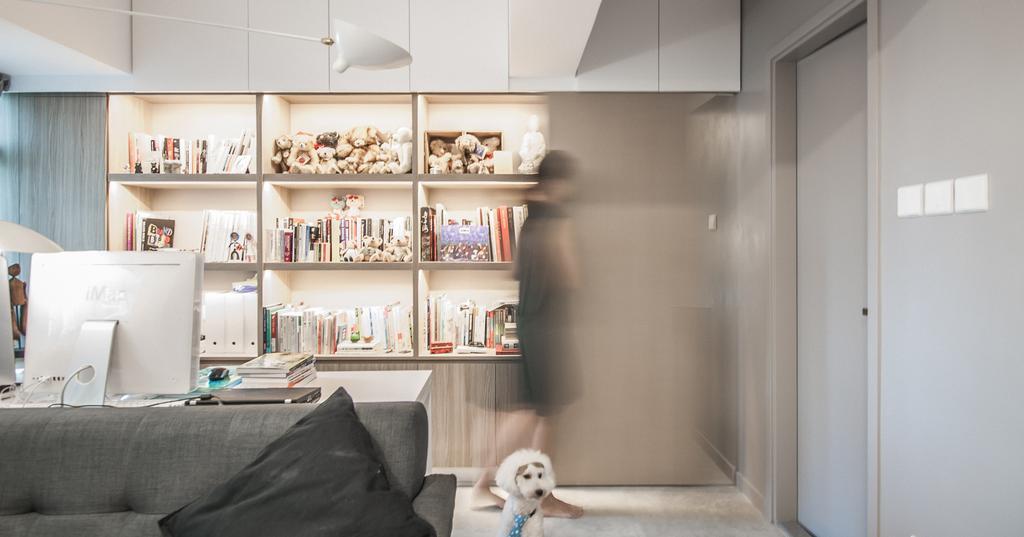 簡約, 私家樓, 客廳, 慧安園, 室內設計師, Zinc Studio, 摩登, Couch, Furniture, Shelf, Bookcase