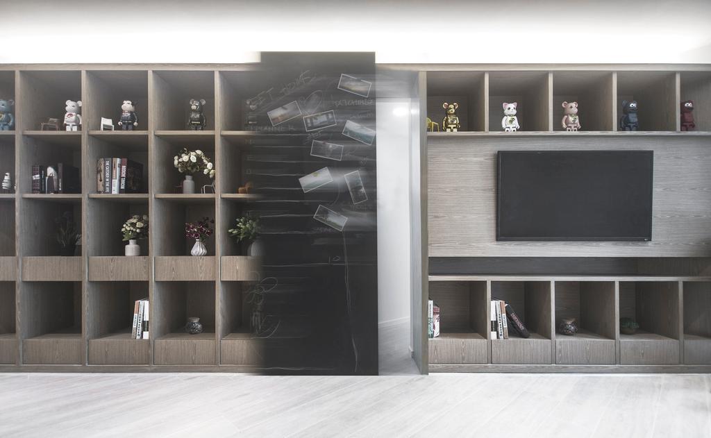 當代, 私家樓, 客廳, 駿景園, 室內設計師, Zinc Studio, Electronics, Entertainment Center, Bookcase, Furniture
