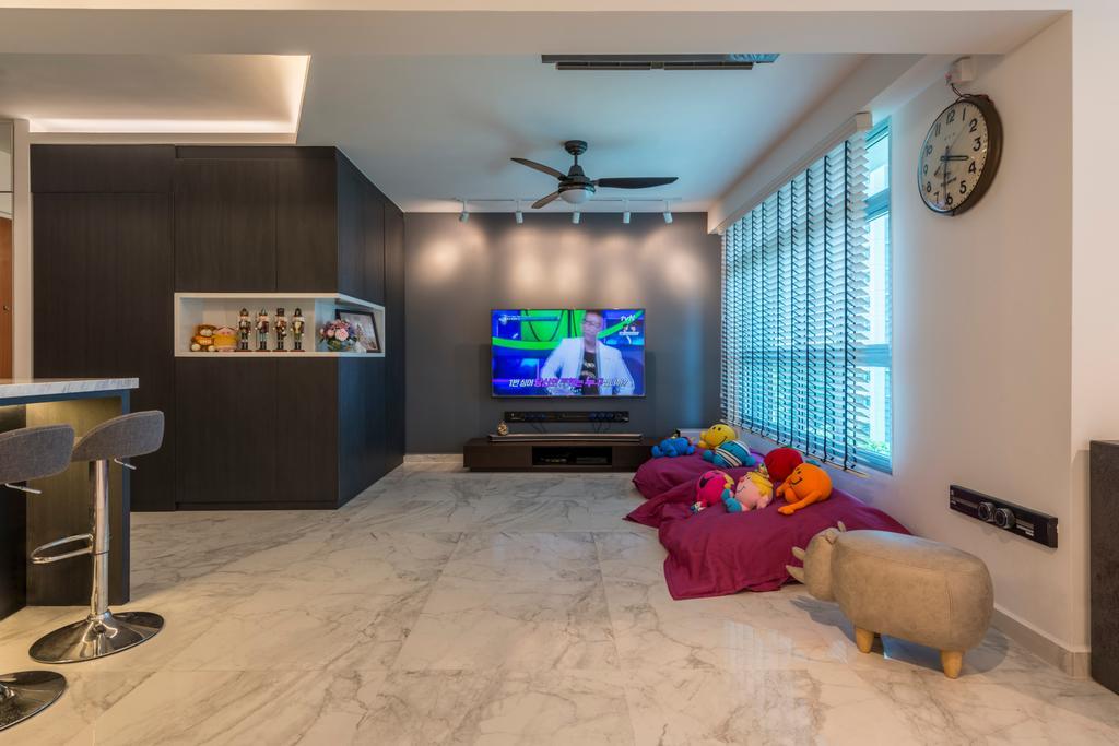 Modern, HDB, Living Room, Telok Blangah, Interior Designer, Fifth Avenue Interior, Scandinavian, Bar Stool, Furniture, Indoors, Interior Design, Room