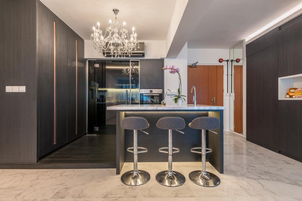 Modern, HDB, Kitchen, Telok Blangah, Interior Designer, Fifth Avenue Interior, Scandinavian, Bar Stool, Furniture, Dining Room, Indoors, Interior Design, Room, Dining Table, Table