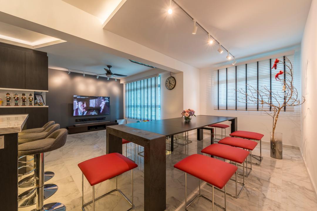 Telok Blangah, Fifth Avenue Interior, Modern, Scandinavian, Dining Room, HDB, Chair, Furniture, Electronics, Entertainment Center, Home Theater, Indoors, Room, Waiting Room, Interior Design