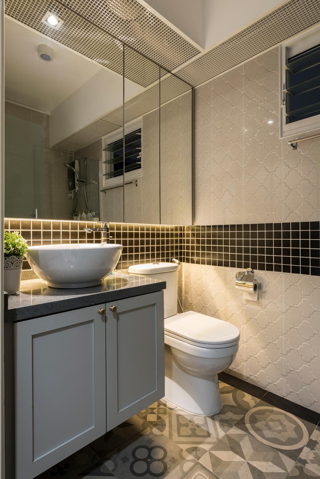 Contemporary, HDB, Bathroom, Compassvale Crescent (Block 286B), Interior Designer, Fifth Avenue Interior, Modern, Indoors, Interior Design, Room, Toilet