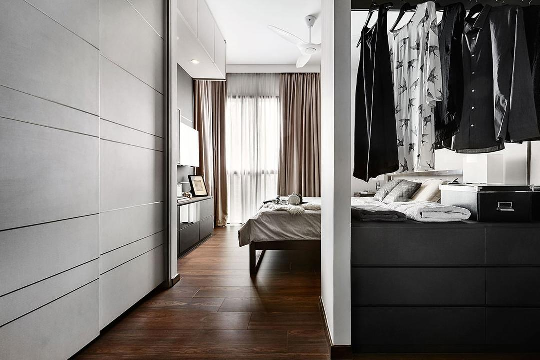 Jewel @Buangkok, Icon Interior Design, Contemporary, Bedroom, Condo, Hardwood, Wood, Closet, Furniture, Wardrobe, Clothing, Coat, Overcoat, Suit, Tuxedo
