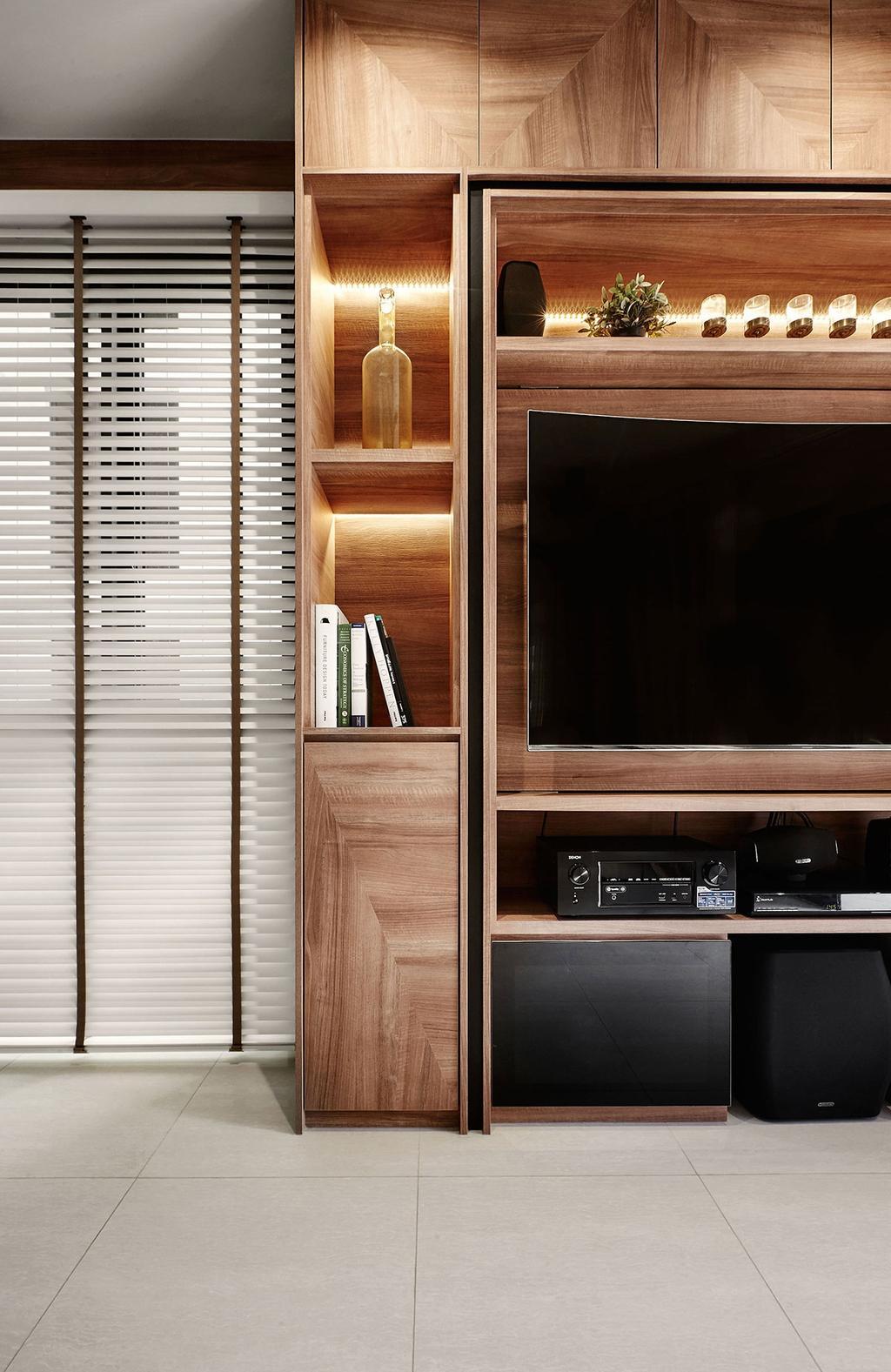 Contemporary, Condo, Living Room, Jewel @Buangkok, Interior Designer, Icon Interior Design, Bookcase, Furniture, Electronics, Entertainment Center, Curtain, Home Decor, Shutter, Window, Window Shade