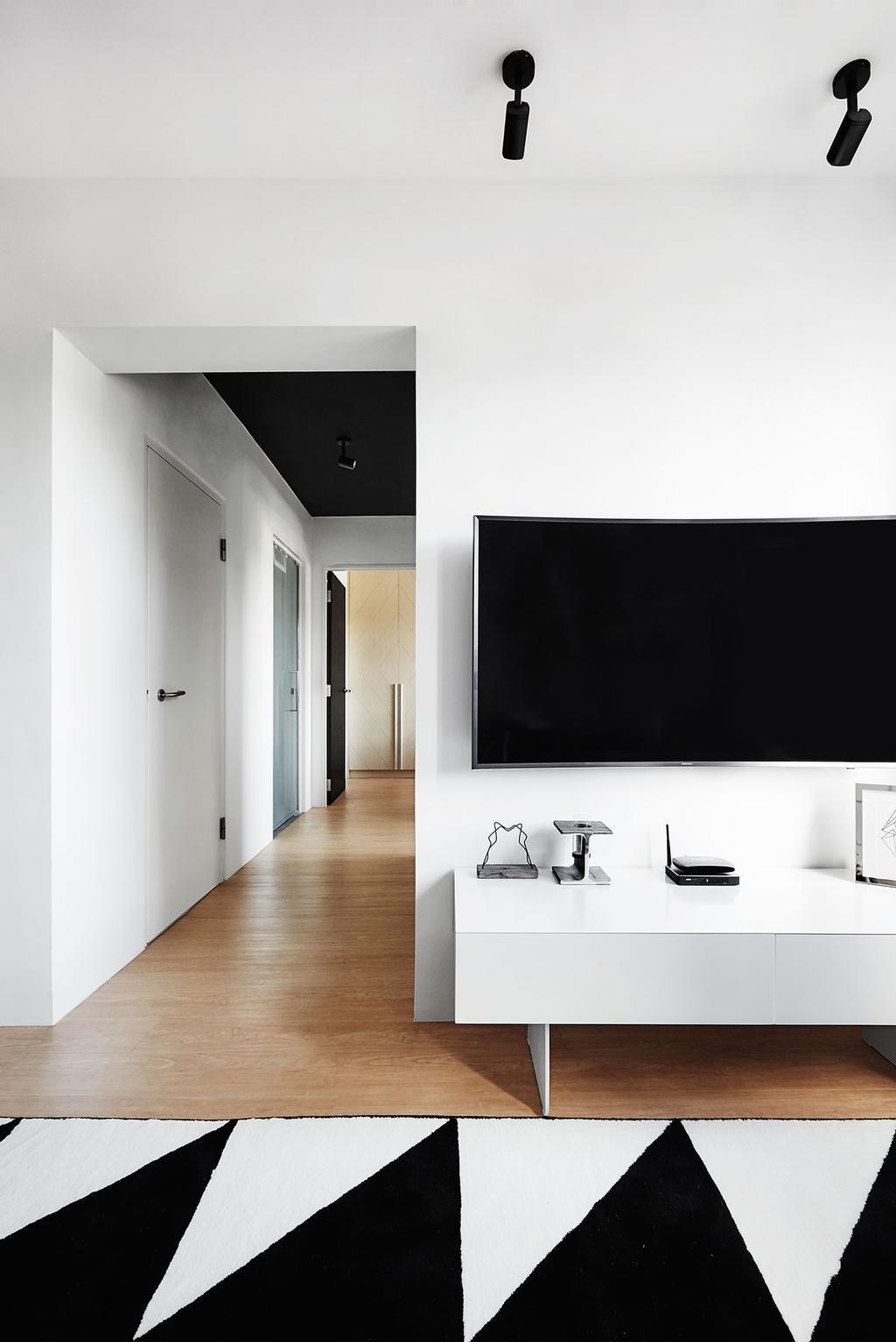 Scandinavian, HDB, Living Room, Circuit Road (Block 18D), Interior Designer, Icon Interior Design, Corridor, Computer Hardware, Electronics, Hardware, Router