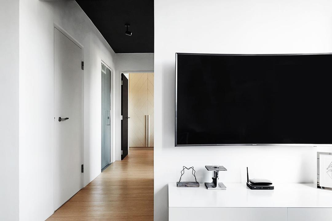 Circuit Road (Block 18D), Icon Interior Design, Scandinavian, Living Room, HDB, Corridor, Computer Hardware, Electronics, Hardware, Router