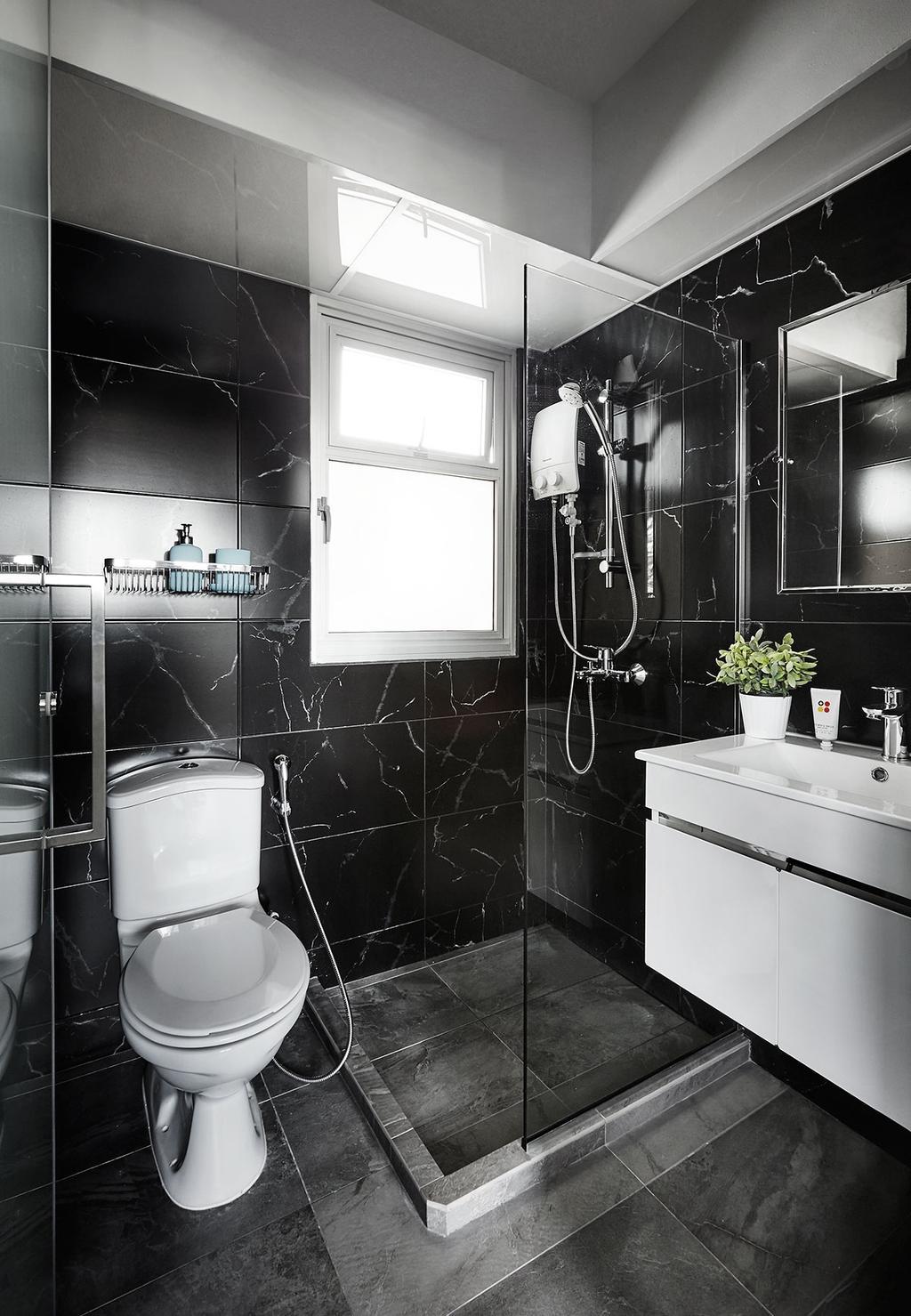 Scandinavian, HDB, Bathroom, Circuit Road (Block 18D), Interior Designer, Icon Interior Design, Indoors, Interior Design, Room, Flora, Jar, Plant, Potted Plant, Pottery, Vase