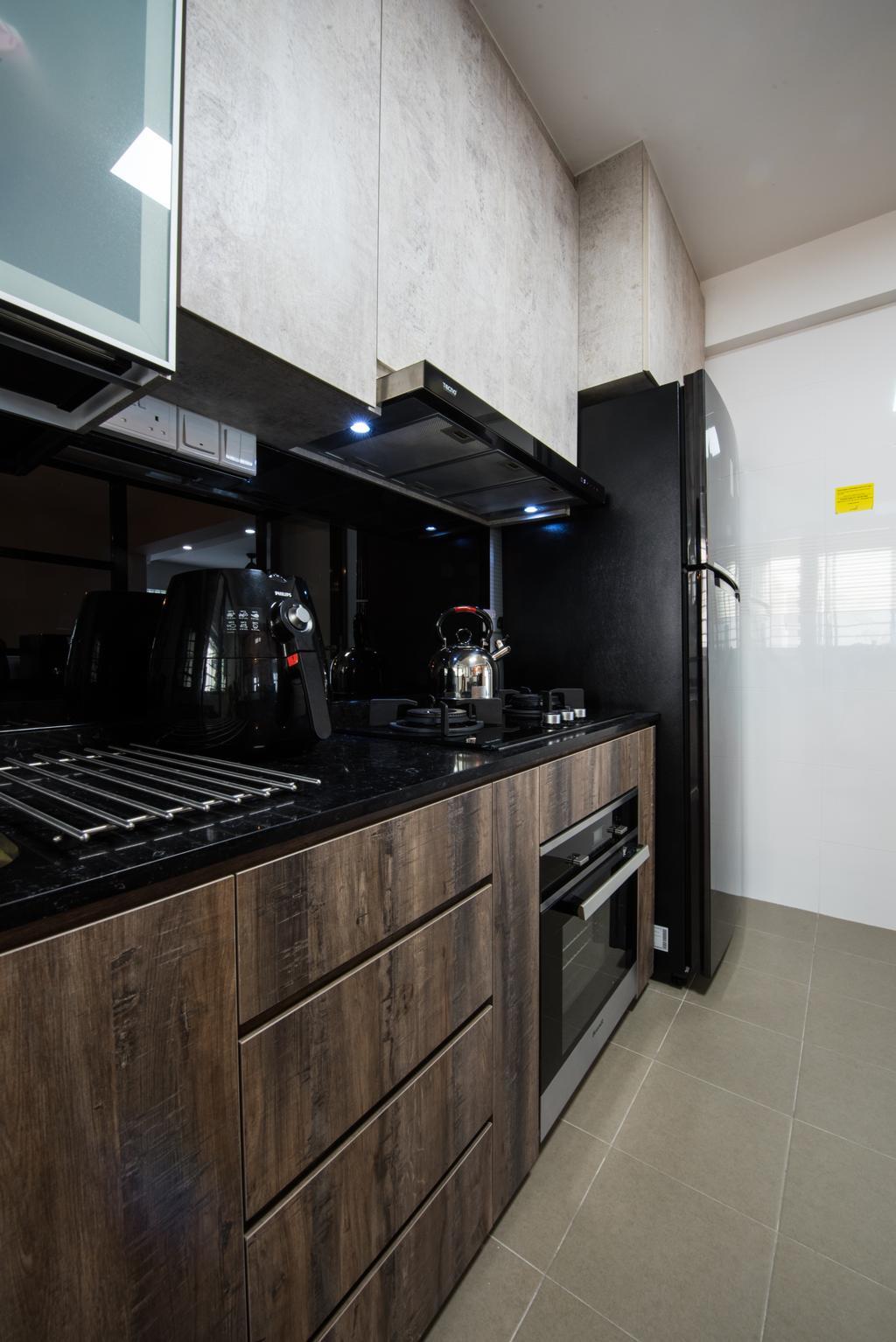 Contemporary, HDB, Kitchen, Yishun Avenue 4, Interior Designer, Glamour Concept, Appliance, Electrical Device, Oven