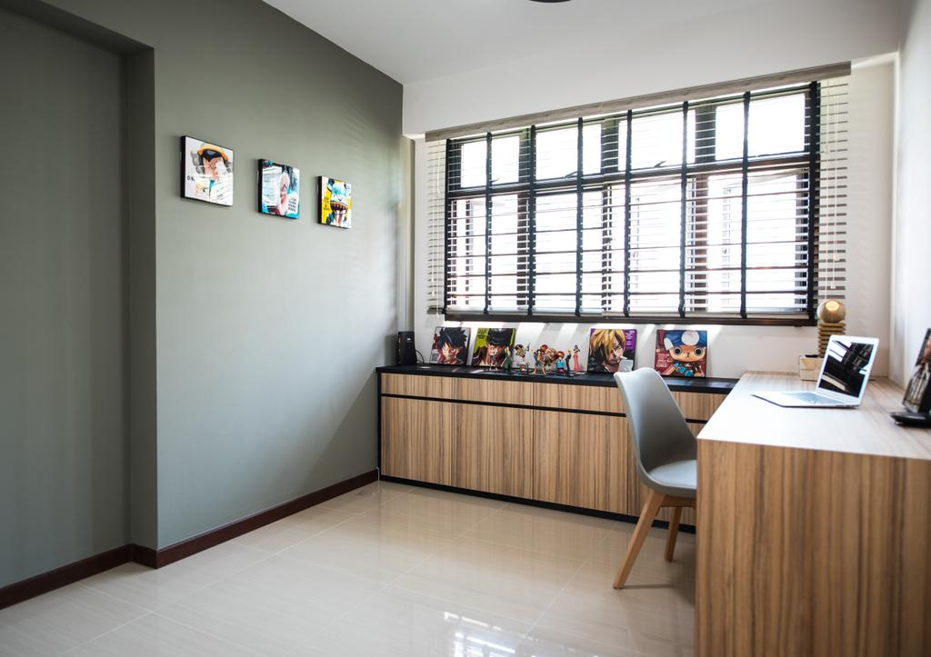 Contemporary, HDB, Study, Yishun Avenue 4, Interior Designer, Glamour Concept, Flooring, Building, Housing, Indoors, Loft, Dining Room, Interior Design, Room, Wall, Dining Table, Furniture, Table, Chair