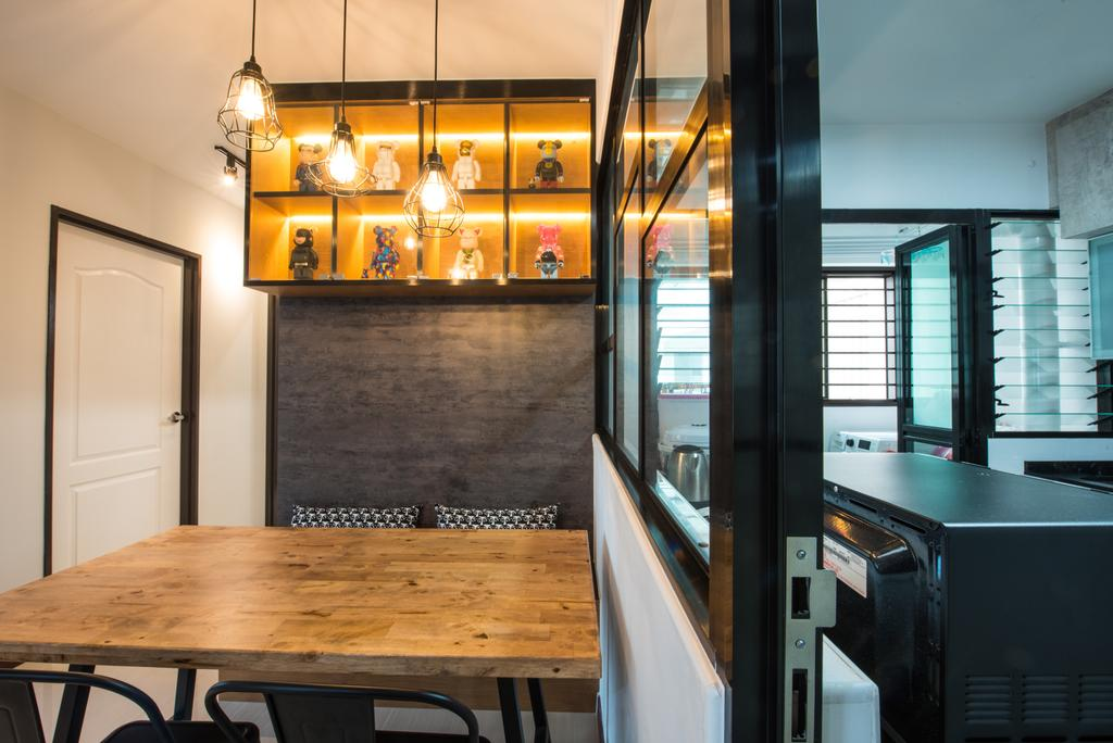 Contemporary, HDB, Dining Room, Yishun Avenue 4, Interior Designer, Glamour Concept, Dining Table, Furniture, Table, Building, Housing, Indoors, Loft, Chandelier, Lamp, Appliance, Electrical Device, Oven, Plywood, Wood, Interior Design, Room, Cafe, Restaurant