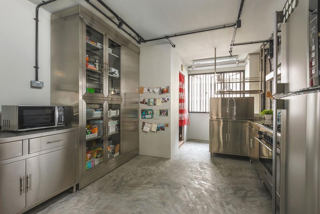 Industrial, HDB, Kitchen, Kim Keat Link (Block 246), Interior Designer, Icon Interior Design, Appliance, Electrical Device, Microwave, Oven