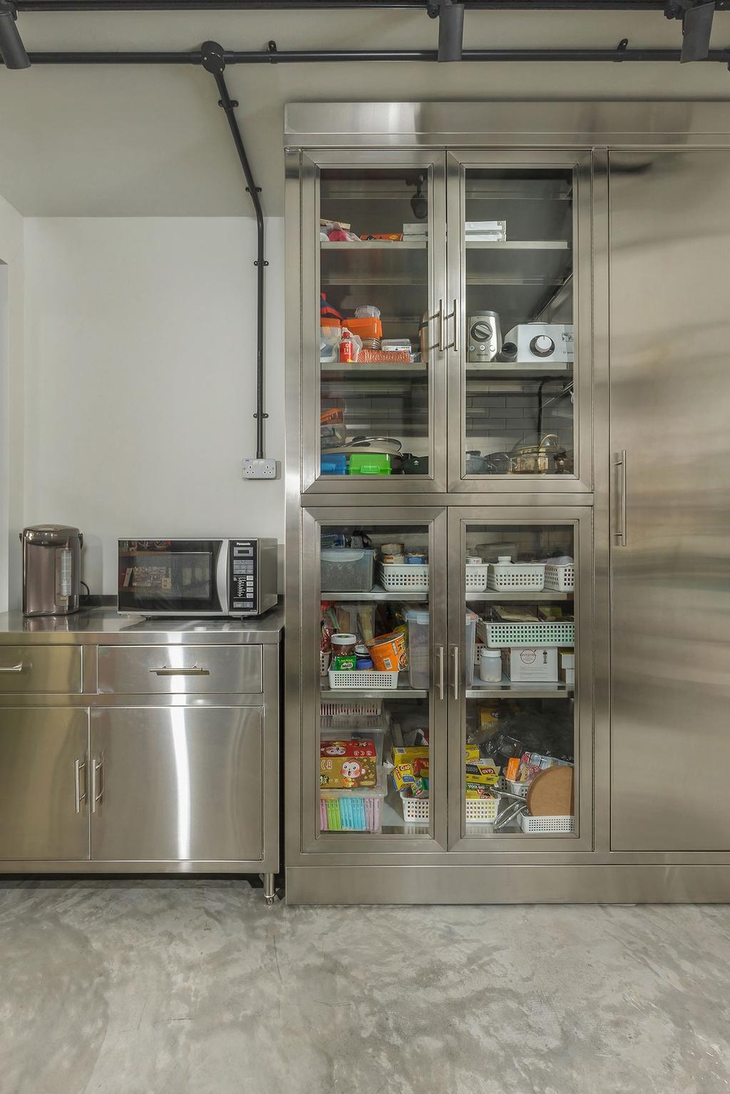 Industrial, HDB, Kitchen, Kim Keat Link (Block 246), Interior Designer, Icon Interior Design, Appliance, Electrical Device, Microwave, Oven, Pantry, Shelf, Fridge, Refrigerator
