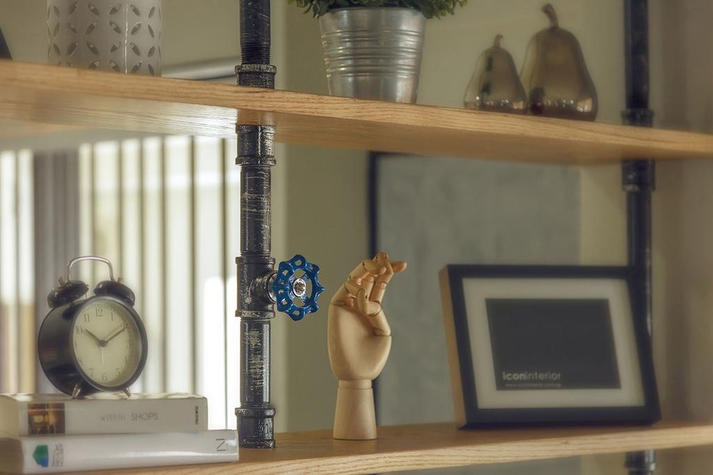 Industrial, HDB, Study, Kim Keat Link (Block 246), Interior Designer, Icon Interior Design, Clock, Figurine