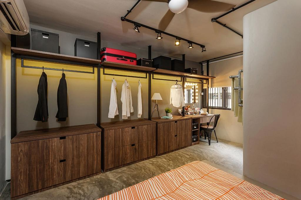 Industrial, HDB, Bedroom, Kim Keat Link (Block 246), Interior Designer, Icon Interior Design, Flooring, Floor