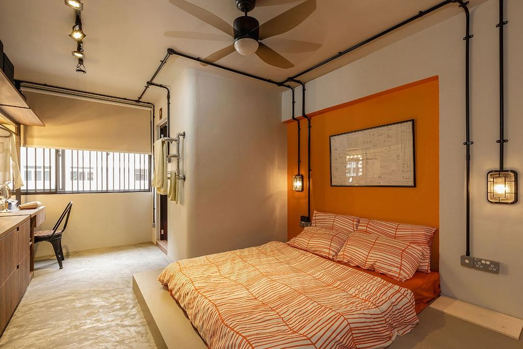 Industrial, HDB, Bedroom, Kim Keat Link (Block 246), Interior Designer, Icon Interior Design, Indoors, Interior Design, Room, Bed, Furniture