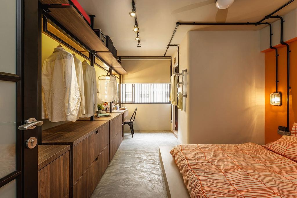 Industrial, HDB, Bedroom, Kim Keat Link (Block 246), Interior Designer, Icon Interior Design, Indoors, Interior Design, Room, Lighting
