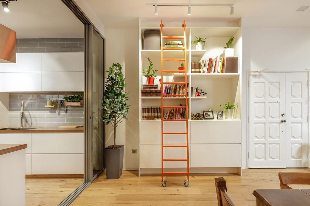 Scandinavian, Condo, Living Room, Sunset Way, Interior Designer, Icon Interior Design, Indoors, Interior Design, Flora, Jar, Plant, Potted Plant, Pottery, Vase, Bookcase, Furniture, Pot
