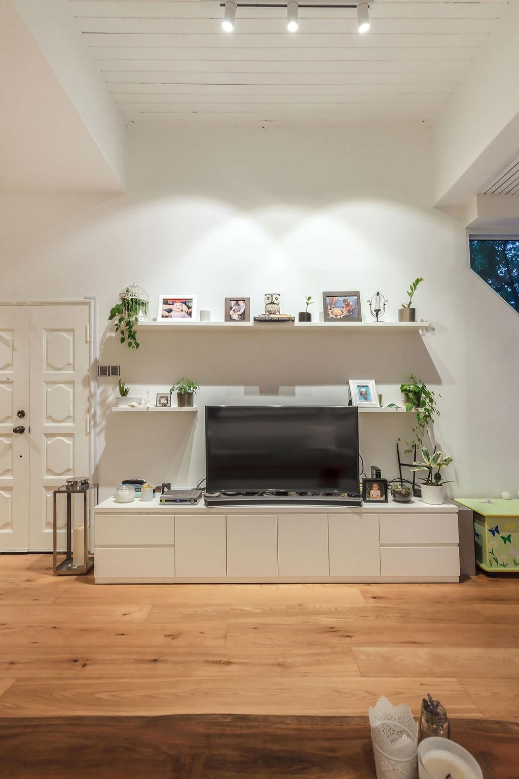 Scandinavian, Condo, Living Room, Sunset Way, Interior Designer, Icon Interior Design, Flora, Jar, Plant, Potted Plant, Pottery, Vase, Bathroom, Indoors, Interior Design, Room, Fireplace, Hearth