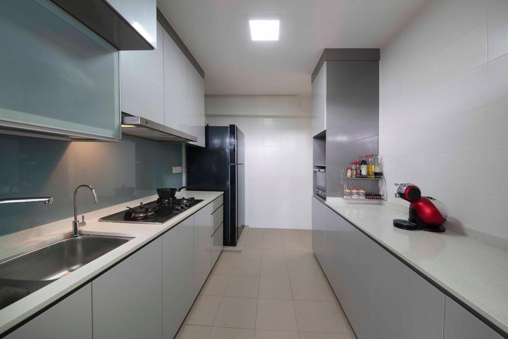 Transitional, HDB, Kitchen, Boon Lay (Block 197B), Interior Designer, DreamCreations Interior, Kitchen Cabinets, Cabinetry, Coffee Machine, Stove, Kitchen Sink, Kitchen Rack