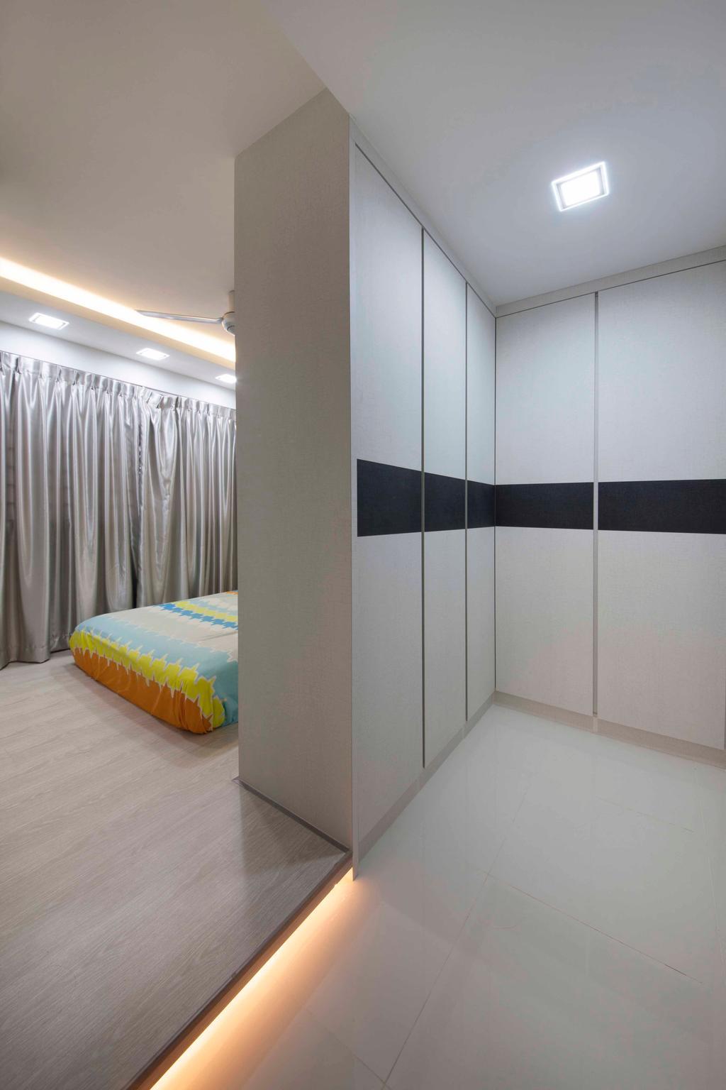 Transitional, HDB, Bedroom, Boon Lay (Block 197B), Interior Designer, DreamCreations Interior, Platform, Curtains, Wardrobe, Cove Lighting, Tile